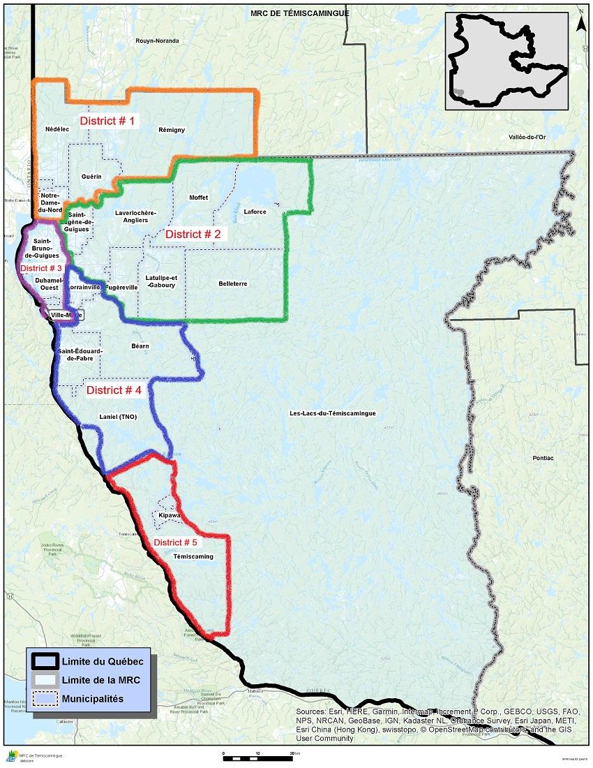 Découpage du territoire en cinq districts