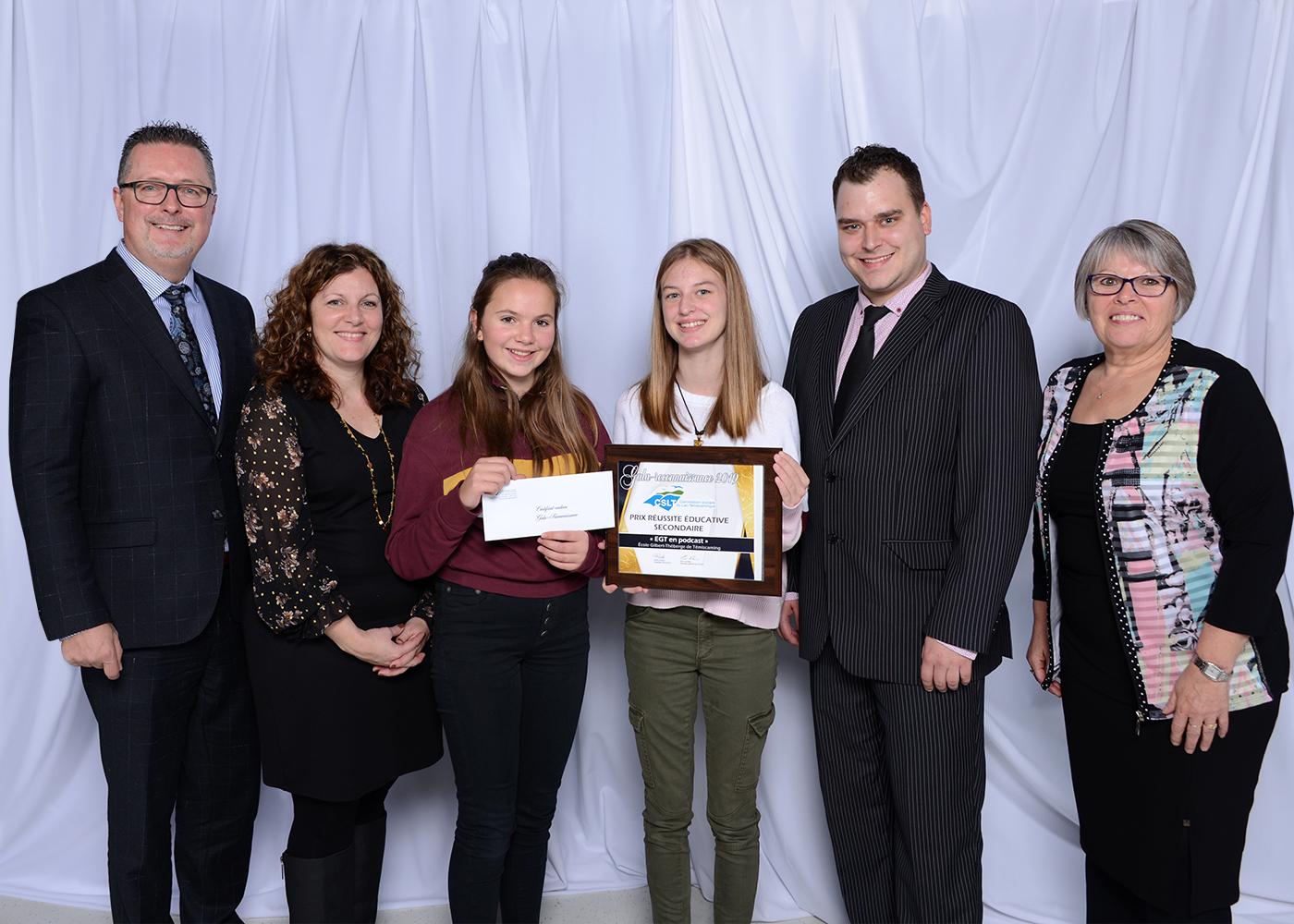 Photo de groupe - Prix réussite éducative secondaire - École Gilbert-Théberge de Témiscaming